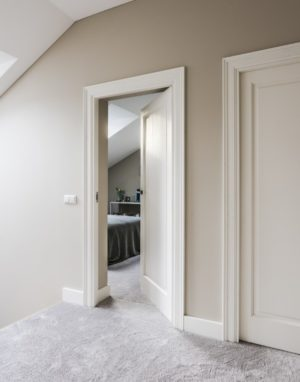 Wooden Classical doors white painted model EKD1FR-10_20 RAL9003 Ecowood
